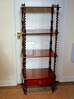 Early Victorian Mahogany 4 Tier Wot- Not - Spiral Turned Columns Brass Gallery