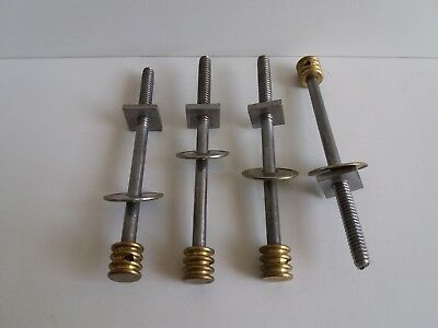 "Set Of Four Brass Bolts Screws With Nuts Antique For Bed Old Furniture 5"" Long"