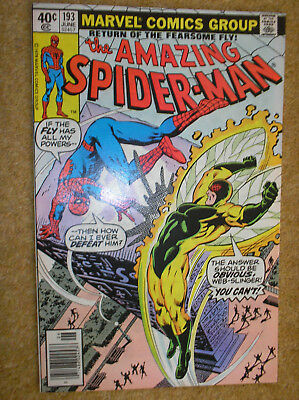 AMAZING SPIDER-MAN # 193 FLY NEWSSTAND VARIANT 40c BRONZE AGE MARVEL COMIC BOOK