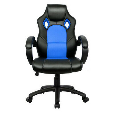 Executive Racing Gaming Office Chair Swivel Sport PU Leather Computer Desk Black