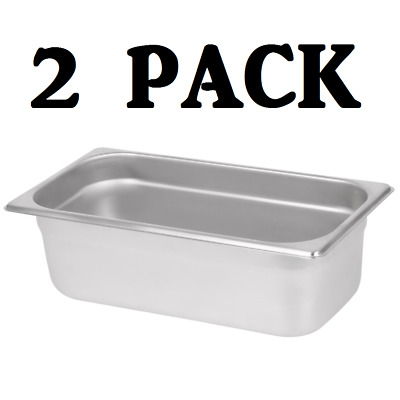 "2 PACK 1/3 Size Stainless Steel Steam Prep Table Pan 12 3/4"" x 7"" x 4"" Deep NEW"