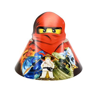 6 X Kids Children Birthday Party Ninjago Paper Hats Set Decoration