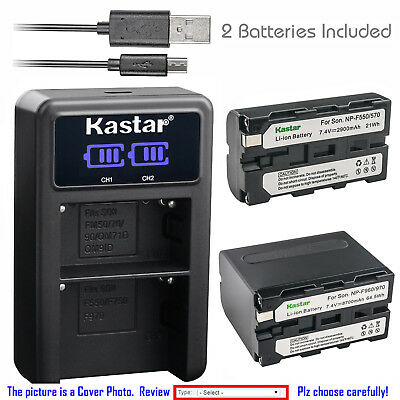 Kastar Battery LCD Dual Charger for Sony NP-F550 CCD-TRV101 CCD-TRV119 CCD-TRV15