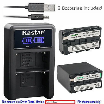 Kastar Battery LCD Dual Charger for Sony NP-F550 CCD-TRV48 CCD-TRV49 CCD-TRV51