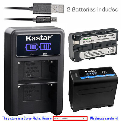 Kastar Battery LCD Dual Charger for Sony NP-F550 CCD-TRV517 CCD-TRV54 CCD-TRV55
