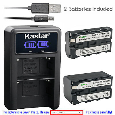 Kastar Battery LCD Dual Charger for Sony NP-F550 Sony DSR-250 DSR-300 DSR-PD100