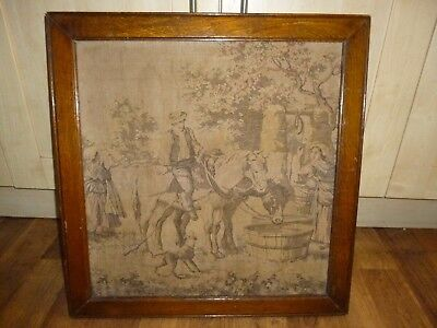 Antique Sewn  Picture Tapestries in Oak Frame