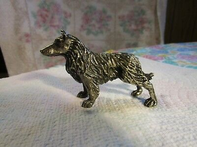 Gorgeous Small Silver Metal[ Collie Dog] Figurine~Very Rare!!