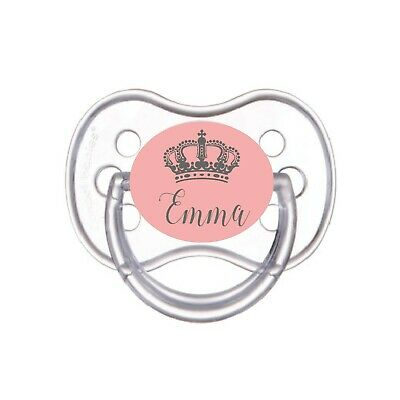 Personalised Dummy *Cherry Teat* Royal Crown Dummy And Clip *Can Be Sterilised*