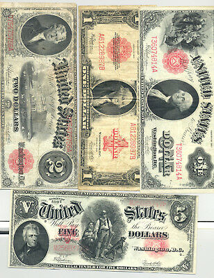 High grade $5 1907 Woodchopper, $1, $2 1917 and $1 1923 United States Notes