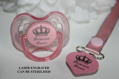 Personalised Dummy Avent *royal Crown* Dummy And Dummy Clip *can Be Sterilised*