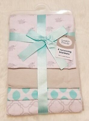 New Luvable Friends Flannel 4 Piece Receiving Blankets NWT Elephants Grey/Teal