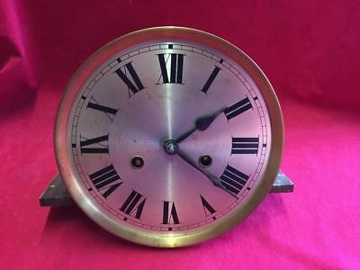 Vintage Clock Face, Hands & Gb Brass Movement For Spares Or Repair