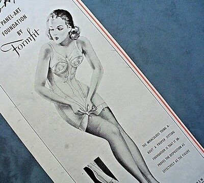Antique 1941 FORMFIT ALL-IN-ONE FOUNDATION CORSET Vintage Print Ad VERY GLAM