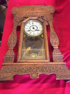 Vintage 8 Day Norwich Line New Haven Clock Co Striking Wall Clock