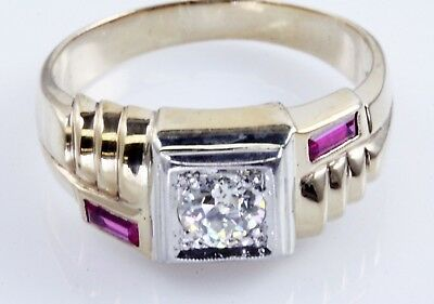 Vintage Men's 3/4 Ct Old European Diamond Ring 10K Yellow Gold 13 1/2 WHOLESALE