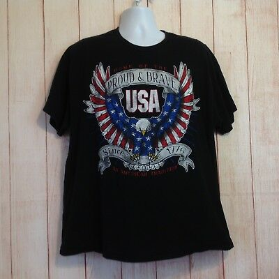 Vintage 90s Proud And Brave USA Eagle Patriotic Graphic Tee Shirt T-Shirt XL