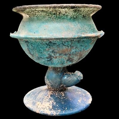 Very Rare Huge Ancient Roman Glass Chalice 1St Century A.d. (4)