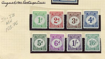 Weeda Gilbert & Ellice J1-J8 VF MNH 1940 Postage Due CV $103.75