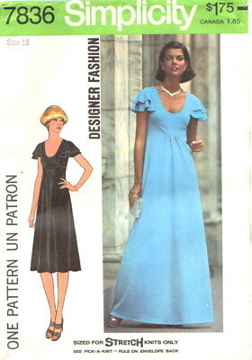 Vintage Uncut 70's Simplicity 7836 Designer Evening Dress Pattern Miss Size 16