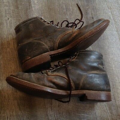 Vintage 50s Brown Leather Lace Up Ankle Work Boots Outdoorsman