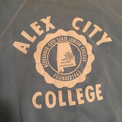 Vintage 1960's FLOCK PRINT 100% Cotton Sweatshirt ALEX STATE ALABAMA XL USA MADE