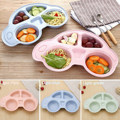 Baby Toddler One Piece Silicone Placemat Plate Dish Food Tray Kids Car Shape Mat