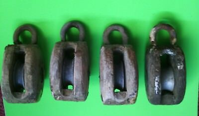Old Wooden Medium sized ships Single sheave Blocks, Set of Four in original cond