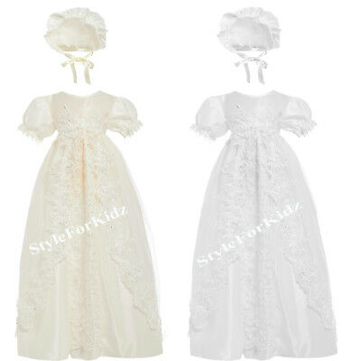 Baby Girls Christening Gown Ivory/Cream , White Baptism Dress With Bonnet