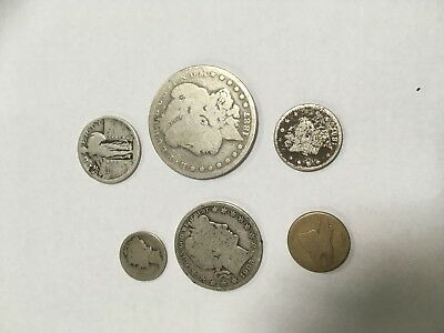 Mixed US Antique Coins Lot ~ Liberty $ Barber Half, Quarter, Large Cent, Silver+