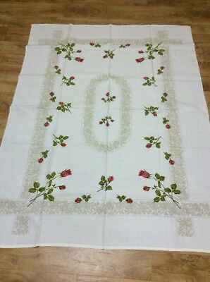 Vintage Collectable Gorgeous New Floral Rose Buds  Tablecloth