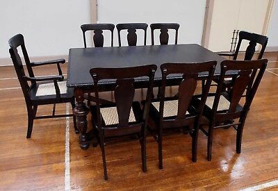1930s Jabobian Antique Dining table and Chairs fully restored