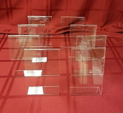 "Acrylic Slant Style Sign Holder 4"" W x 6"" H  PK of 8"