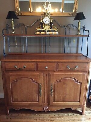 Ethan Allen Country French Server Sideboard Buffet Console with Shelf and Rack