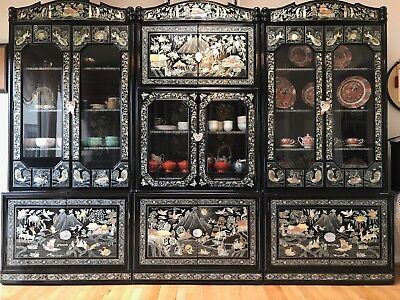 Oriental Korean Mother Of Pearl Furniture Black Lacquer Cabinet Storage Set