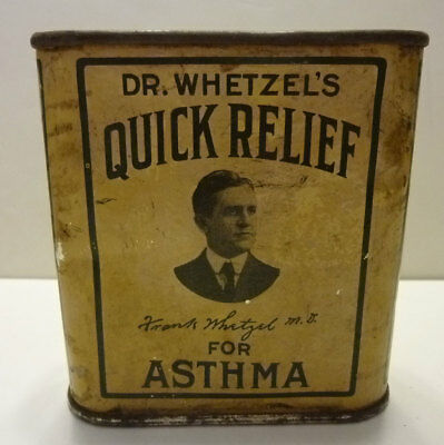 Dr. Whetzel's Quick Relief for Asthma, cure, tin, paper label, quack medicine