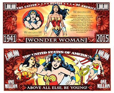 Wonder Woman Million Bill **Novelty Money** FREE Sleeve