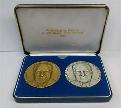 1972 NIXON Journey For Peace .999 SILVER & BRONZE 2 Medal Set In Box MACO 3310