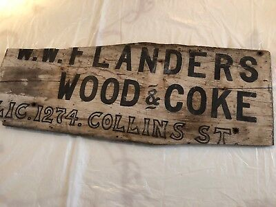 Early antique advertising trade wood & coke wooden sign
