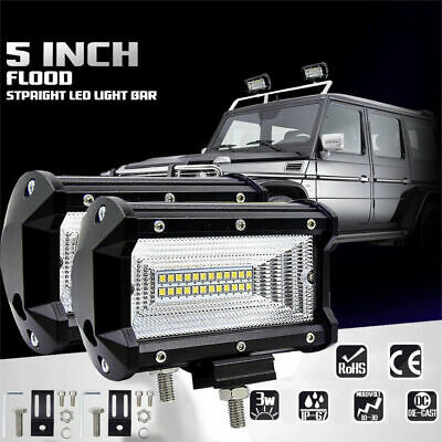 "2x 5"" CREE LED Pod Work RV Light Bar Flood Beam Off-Road Driving Fog Lights 12V"