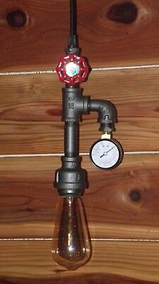 Industrial ~ Steampunk Vintage Water Pipe Hanging Ceiling Light & Gauge ~by PLD