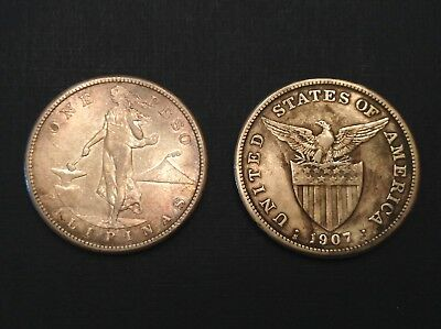 -Lot of Two -1907 S US Philippines Silver Peso WWII Sea Salvage Treasure Coins