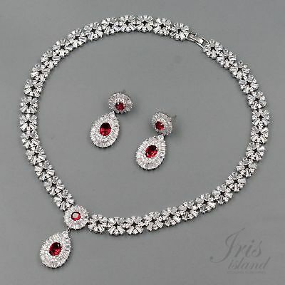 White Gold Plated Red Cubic Zirconia Necklace Earrings Wedding Jewelry Set 00560