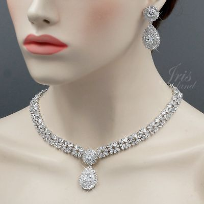 White Gold Plated Clear Cubic Zirconia Necklace Earrings Wedding Jewelry Set 579