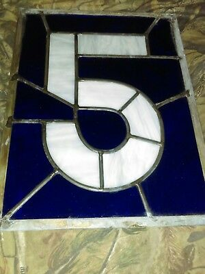 Architectural slavage stained art glass Blue #5