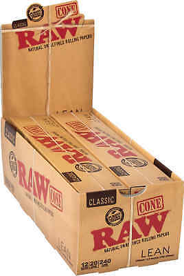 12 Packs of 20 Cones Ea. RAW Lean Classic Paper Pre-Rolled Cones