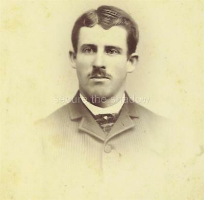 CABINET CARD PHOTO: Very HANDSOME YOUNG MAN w SLIGHT MUSTACHE Amherst, MASS