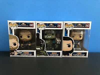 Funko Pop! Marvel Thor Ragnarok Complete Set of 3 New in Box MINT Condition!