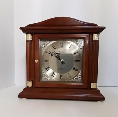BULOVA Bramley Shelf/Mantel Clock B1843 - Westminster Chimes, Walnut Finish EUC