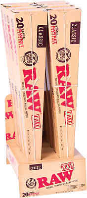 8 Packs of 20 Cones Ea. RAW Classic Paper Pre-Rolled Cones